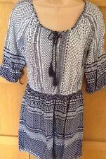 DOROTHY PERKINS 12 vgc navy white print longline kaftan tunic dress 3/4 sleeve