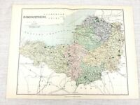 1889 Mappa Antica Di Somerset Wells Tautnton Bridgwater Yeovil 19th Secolo