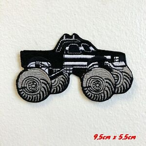 Monster Truck Toy American Black Iron on Sew on Embroidered Patch#1772B