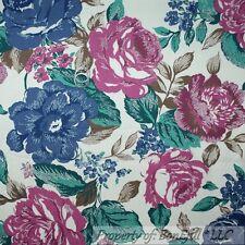 BonEful Fabric Fq Cotton Decor Denim Twill Natural Rose Flower Pink Blue Cottage