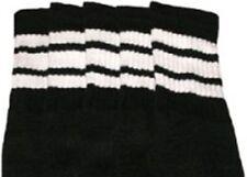 "22"" KNEE HIGH BLACK tube socks with WHITE stripes style 1 (22-88)"