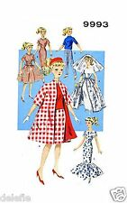 9993 Vintage Doll Clothing Pattern copy fits Barbie 11.5 in.