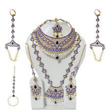 Indian Full 8Pc Bridal Jewelry Set Blue CZ Pearl Necklace Earrings Matha Patti