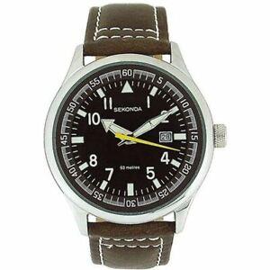 Sekonda Gents Brown Dial Brown Leather Strap Watch 3882