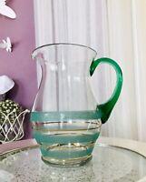 Art Déco Krug Glaskrug Kanne Karaffe Glas grün Streifen Henkel Goldrand schön
