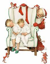 Rockwell Norman Santa Looking At Two Sleeping Children Print 11 x 14   #5205