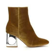 Chic Cutout Heel Gold Booties Very Fashion Forward for Casual Wear Size 8.5