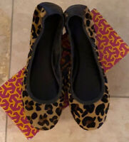 Tory Burch Leopard Calf Hair Leather Slip On Ballerina Flats Size 10.5