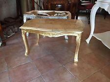 tavolino da salotto in stile barocco in foglia oro con piano in marmo