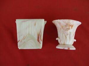 2 AKRO AGATE Vases Orange Lily & RARE Art Deco White and Orange (00)