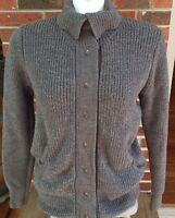 Eileen Fisher Long Sleeve Cardigan Snap Down Sweater Size M Medium Gray