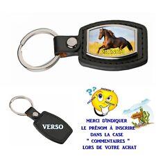 porte clé simili cuir cheval personnalisé avec prénom au choix réf 02