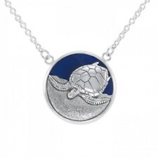 Ted Andrews Sea Turtle blue Enamel inlay Sterling Silver Necklace  Peter Stone