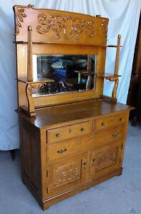 Antique Oak Sideboard Buffet - Large Mirror - Lots of Storage