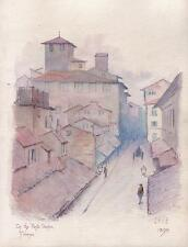 ON THE PONTE VECCHIO FLORENCE ITALY Watercolour Painting SIGNED 1893