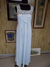 Vintage Light Blue Nylon Ecru Lace Sweep Vanity Fair Full Length Nightgown Small