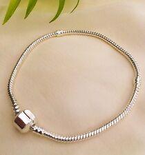 Silver European Snake Bracelet Fits Euro Charms Beads 21cm Gift Idea Free Bag UK