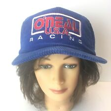 70s 80s Vintage O'Neil Racing Usa Corduroy Red White Blue SnapBack Trucker Hat