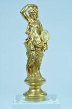 Ancien sceau à cacheter bronze doré femme au drapé et miroir collection