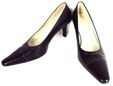 LAUREN RALPH LAUREN BLACK LEATHER CLASSIC PUMPS HIGH WOMEN SHOES SIZE 7.5 B