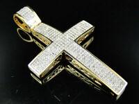 1.52 ct Large Diamond Cross Pendant Charm  10K Yellow Gold Over