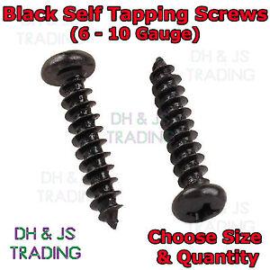 Black Self Tapping Screws - Flange Head Flanged Self Tapper 6,8,10 Gauge Pozi