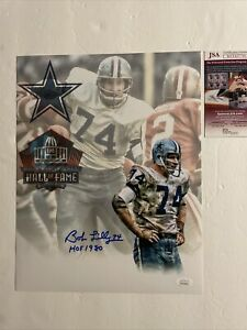 Bob Lilly Signed 11 x 14 photo JSA COA Dallas Cowboys HOFer
