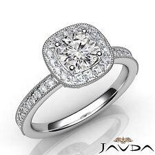 Halo Pave Set Round Diamond Milgrain Engagement Ring GIA H SI1 Platinum 1.23Ct