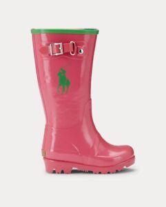 Ralph Lauren Polo Girls Rain Boots Pink/Green Toddler Size 5