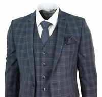 Mens Slim Fit 3 Piece Check Suit Prince Of Wales Classic Vintage Wedding Prom