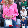 Womens Ruffled Frill V Neck T Shirt Lady Long Sleeve Plain Blouse Loose Tee Tops