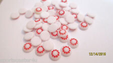48+ LOT VINTAGE STONES FOR JEWELRY 10MM ROUND WHITE W/ RED DOT DESIGN
