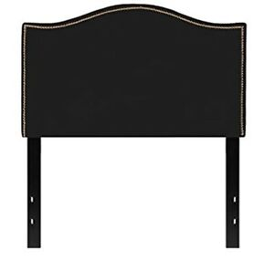 Upholstered Twin Size Arched Headboard with Accent Nail Trim in Black Fabric