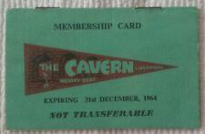 UNUSED 1964 LIVERPOOL CAVERN CLUB MEMBERSHIP CARD SIGNED BEATLES DJ BOB WOOLER