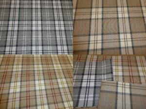 Tartan Checked Wool Effect Weave Upholstery Fabric (THREE COLOURS) Gleneagles