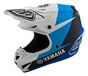 Troy Lee Designs 2021 SE4 Polyacrylite Yamaha L4 YOUTH Helmet w/MIPS - Wht/Blue