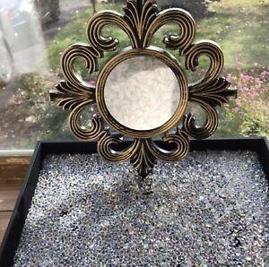 Gold Bronze Vinyl Mini Princess Wall Mirror