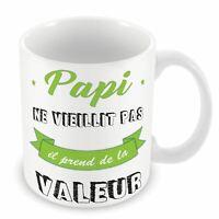 Mug Céramique Tasse Papy ne Vieillit Pas Il Prend de la Valeur Bleu
