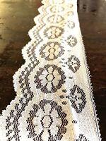 Vintage White Floral Lace Trim On Bridal Tulle Scallop Edge 80mm Pm