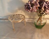 Late Victorian Brass Trivet with Pierced Design