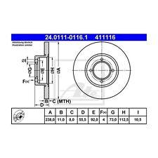 2 St. ATE 24.0111-0116.1 Bremsscheibe   für Opel Manta A Rekord C Rekord D