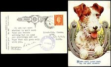 SCOTLAND SANQUHAR to PERTH 1941 PPC TERRIER DOG...POLISH FORCES POSTMARK