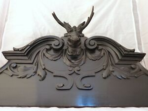"""XL Antique Hand Carved Black Forest Pediment RARE 31"""" Hunting Horns Stag 19th"""