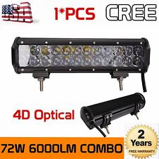4D LENS 12INCH 72W CREE LED LIGHT BAR WORK SPOT FLOOD BEAM CAR BOAT DRIVING LAMP