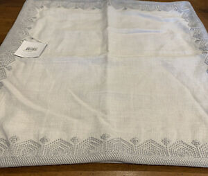 """Serena and Lily Olympia Pillow Cover 25"""" Sq Gray  Taupe Linen Embroidered Edge"""