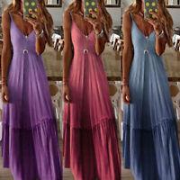 Womens Summer V Neck Maxi Long Dress Sleeveless Loose Holiday Beach Kaftan Dress