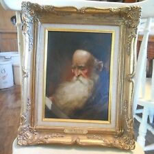 Vintage Signed Oil Painting-RABBI MEDITATING-Listed Artist Donald James Zolan