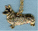 "Welsh Pembroke Corgi Gold Plated Pendant Necklace Jewelry on 20"" Chain"