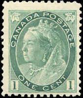 1898 Mint H Canada F+ Scott #75 1c Queen Victoria Numeral Issue Stamp