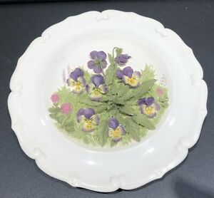 Round 3D WALL PLAQUE Purple Flowers Ceramic Picture - 15.5cm Approx